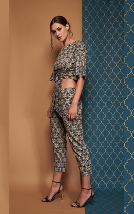 Finlay Straight Leg Baroque Print Crop Trouser by CocooVe Product photo