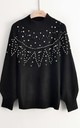 Jumper with Stud and Crystal Embellishments in Black by CY Boutique