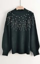 Jumper with Stud and Crystal Embellishments in Green by CY Boutique