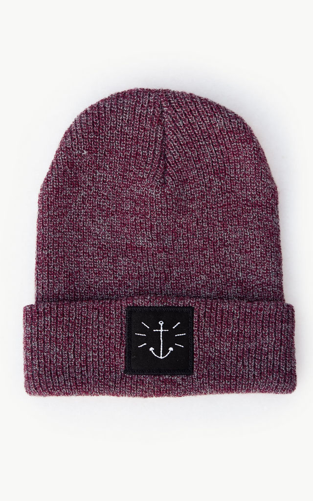 'Anchor' Heather Damson Embroidered Beanie by ART DISCO