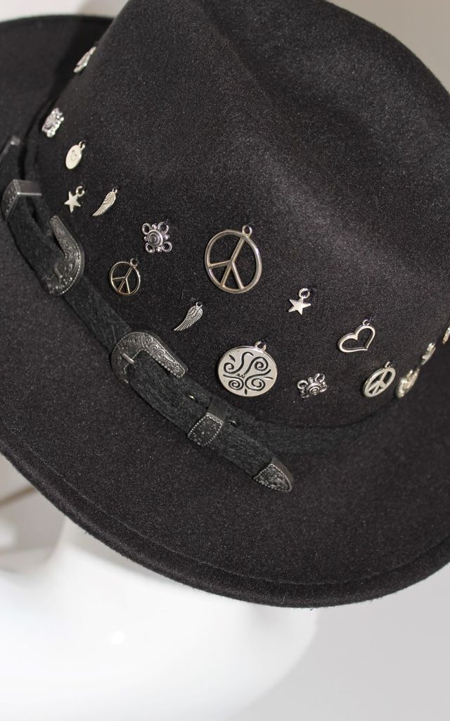 Love and peace charm black fedora hat by Kate Coleman