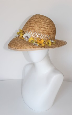 Spring yellow flower straw hat by Kate Coleman