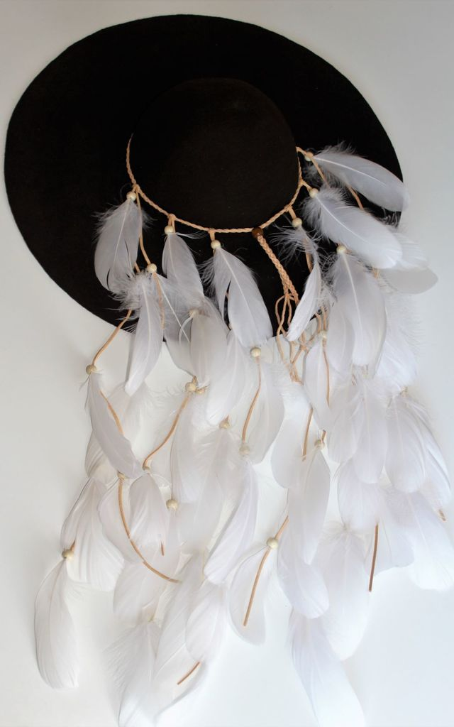 Brie Brown floppy hat with white feathers by Kate Coleman