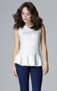 Sleeveless peplum top in white by LENITIF