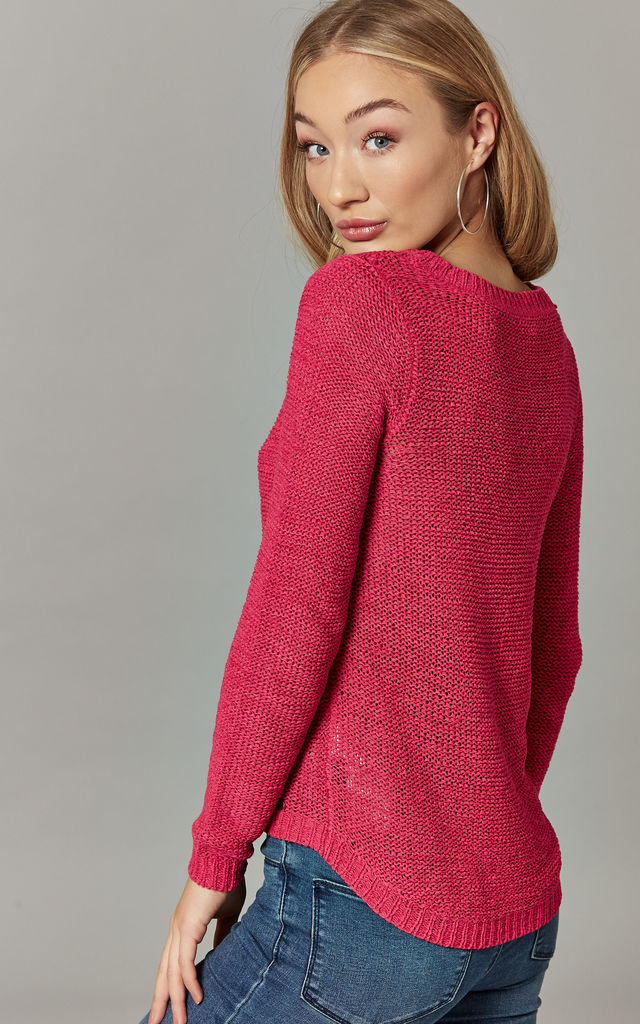Pink Peacock Long Sleeve Pullover Knit by ONLY