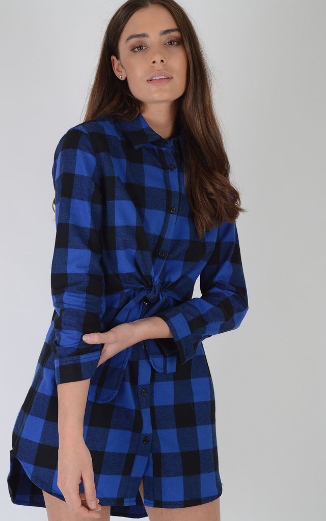 Blue And Black Checked Shirt Dress With Tie Waist by LOVEMYSTYLE