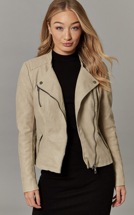 Light Beige Faux Leather Biker Jacket by ONLY Product photo