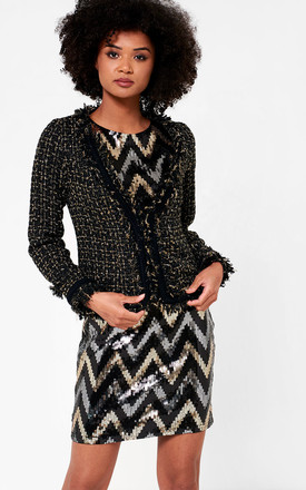 Mica Cropped Tweed Blazer in Black by Marc Angelo