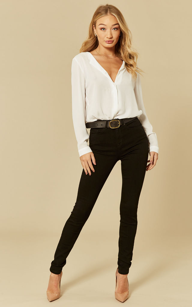 Black Denim High Waist Skinny Jeans by Selected Femme