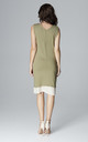 Olive Dress With Chiffon Inserts by LENITIF