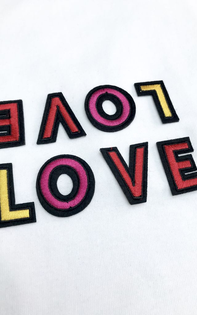 Love Embroidered White T-Shirt by Ethel & Mo