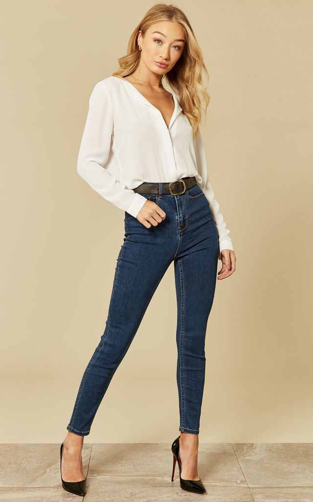 Medium Blue Denim High Waist Slim Fit Jeans by VILA