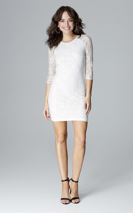 Lace bodycon dress in white by LENITIF