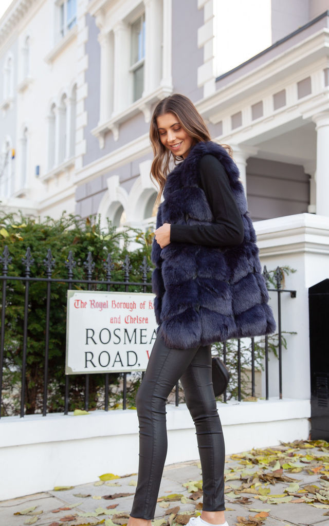 Soho Navy Faux Fur Panelled Gilet by Styled In London