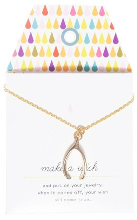 Wishbone Card Necklace by Bella Sorella