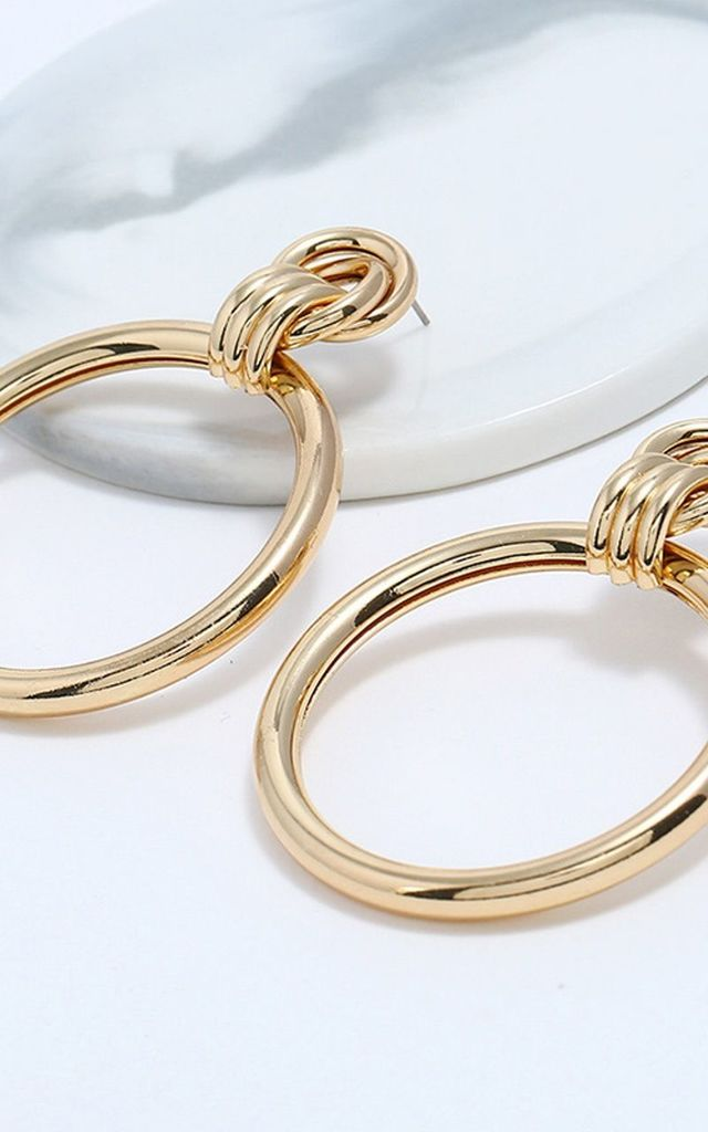 Large Gold Hoop Drop Earrings by Olivia Divine Jewellery