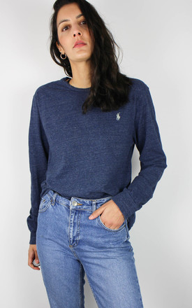 Vintage Ralph Lauren Long Sleeve Top With Logo In Blue Marl by Re:dream Vintage Product photo