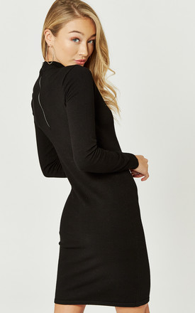Black Long Sleeve Funnel Neck Knit Dress by Noisy May