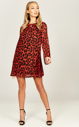 Lily Red Leopard Swing Dress by Phoenix & Feather Product photo