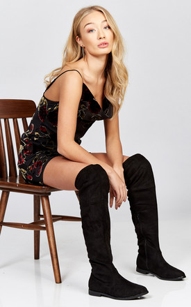 Black Faux Suede Flat Over The Knee Boot With Tie Detail by Truffle Collection Product photo