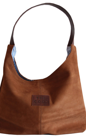 BROWN SUEDE HALF MOON SHOPPER by THE CODE HANDBAGS