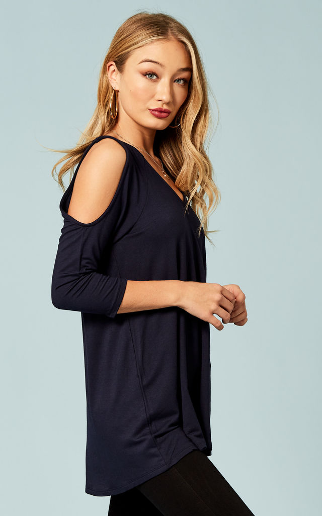 Navy cold shoulder top by Bella and Blue