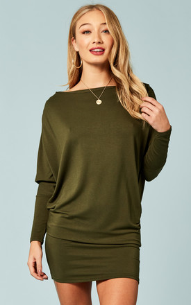 Khaki Batwing Dress by Bella and Blue