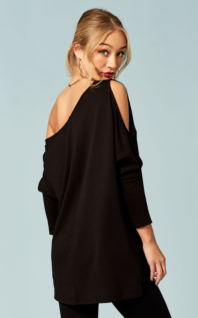 7d1975bc32 Black One Shoulder Keyhole Detail Top | Bella and Blue | SilkFred