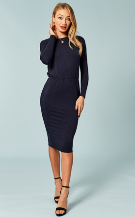 Navy Rouched Waist Midi Dress by Bella and Blue Product photo