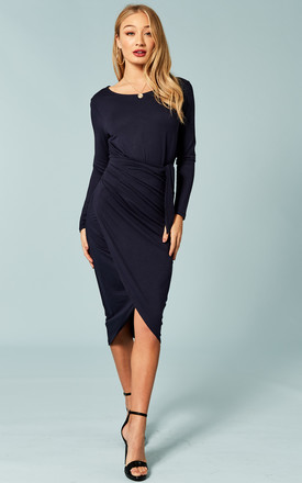 Navy Tie Waist Midi Dress by Bella and Blue Product photo