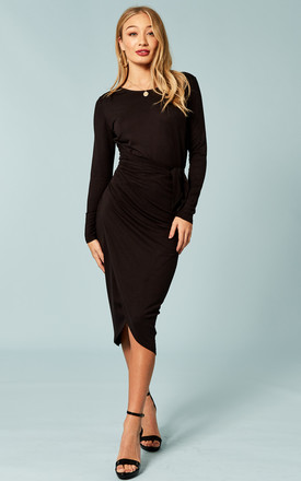 Black Tie Waist Midi Dress by Bella and Blue Product photo