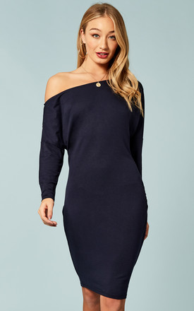 Navy Off The Shoulder Dress by Bella and Blue Product photo