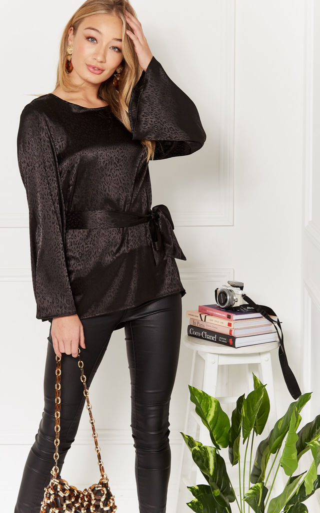 Aleisha black flare sleeve belted jacquared top by Luna