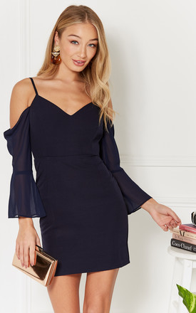 Navy Cowl Draped Sleeve Mini Dress by Luna Product photo