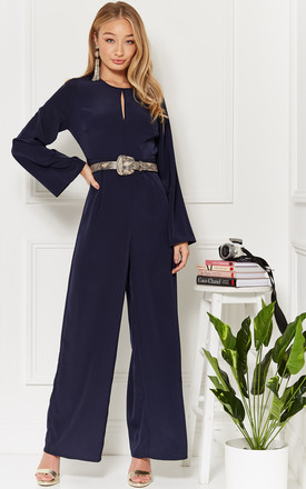 Chrissy Navy Keyhole Front Wide Leg Jumpsuit by Luna Product photo