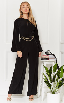 Chrissy Black Keyhole Front Wide Leg Jumpsuit by Luna Product photo