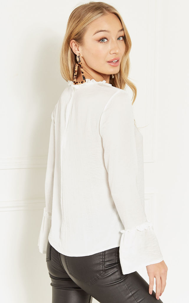 Ivory Frill Neck Bell Sleeve Blouse by Lilah Rose
