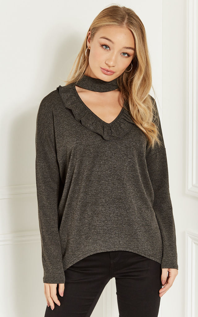 Grey Choker Long Sleeve Top With Ruffle Detail by Bella and Blue