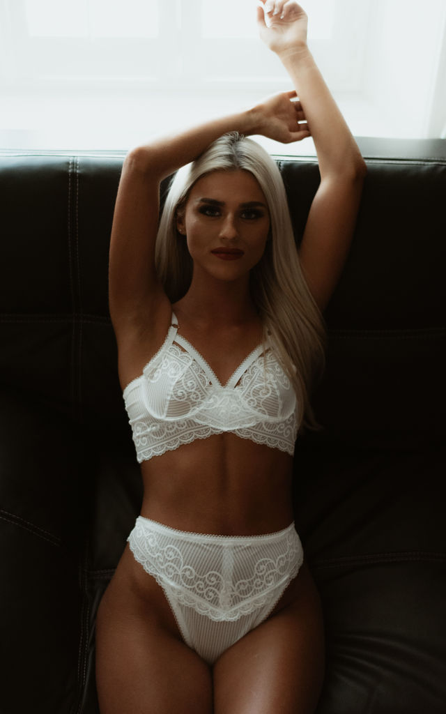 Arianna Underwire White Lace Bra by Sophie Rutherford Intimates