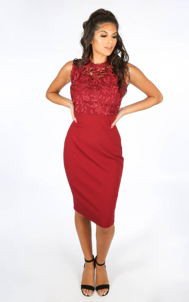 Burgundy Lace Detail Midi Bodycon Dress By Dressed In Lucy