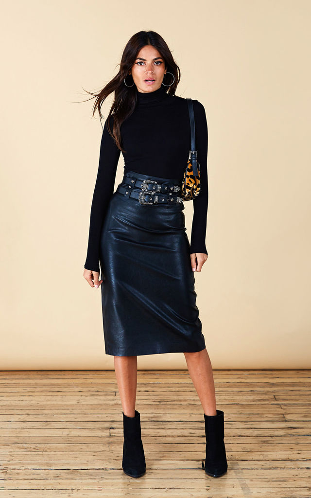 BROOKLYN MIDI SKIRT IN BLACK PU image f3e95cf81