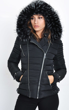 Faux Fur Hooded Quilted Puffer Jacket Black by LILY LULU FASHION