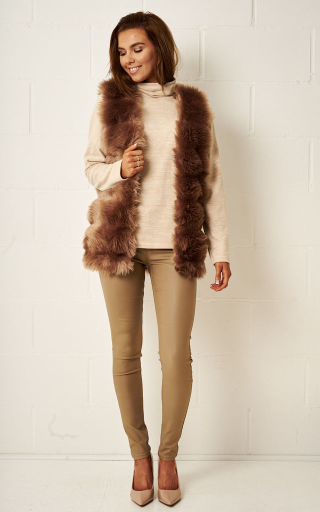 Eleanour Faux Fur Gilet In Brown by Frontrow Limited