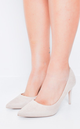 Suede Stiletto Pointed Court Heels Nude Beige by LILY LULU FASHION