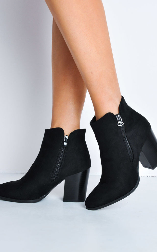 Faux Suede Wooden Block Heel Ankle Boots Black by LILY LULU FASHION
