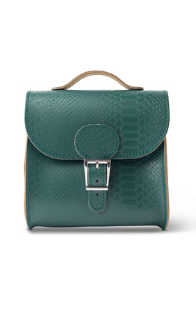 Croc Print Satchel Shoulder Bag In Forest Green by Brit-Stitch Product photo