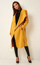 Naomi Waterfall Shawl Collar Coat In Mustard by Frontrow Limited