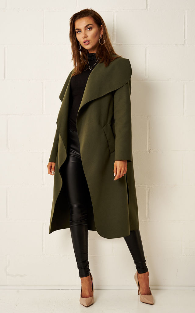 Naomi Waterfall Shawl Collar Coat In Khaki by Frontrow Limited