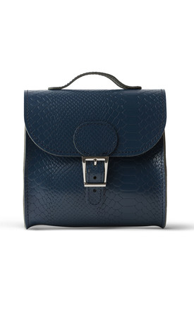 Croc Print Satchel Shoulder Bag in Navy Blue by Brit-Stitch