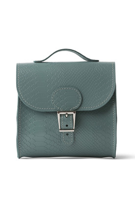 Croc Print Satchel Shoulder Bag In Sea Grey by Brit-Stitch Product photo